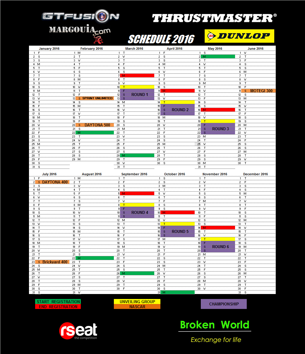 GTfusion 2016 Dunlop Thrustmaster R Seat Schedule2016